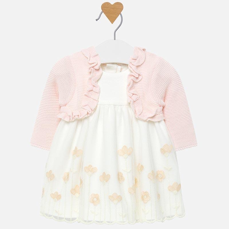 Бебешка рокля с бродерия и жилетка Mayoral 0002814