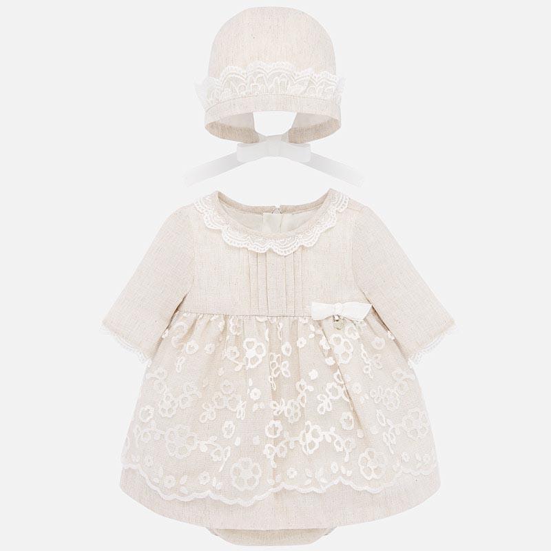 Елегантна рокля с шапка за новородено момиче Mayoral 1869