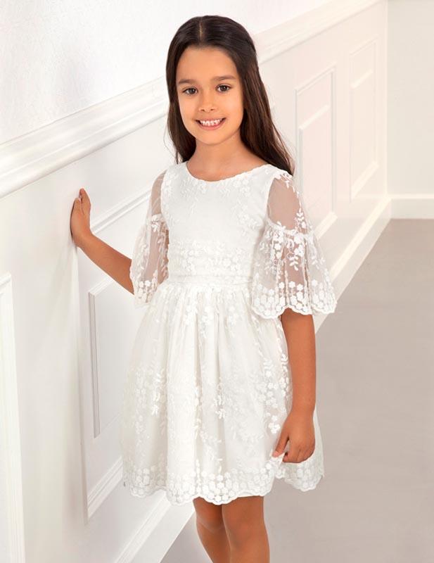 Нежна бяла рокля с бродерия Abel and Lula 5017