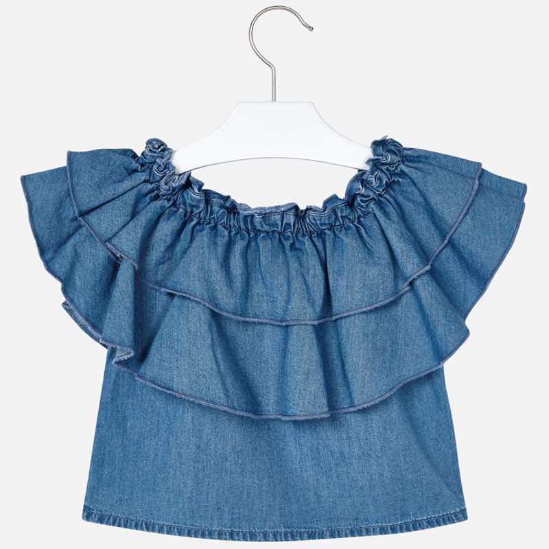 Красива дънкова риза с волани Mayoral 3187 - 3