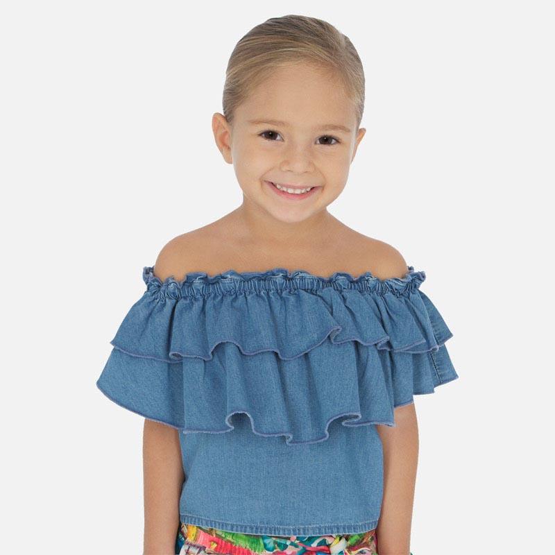 Красива дънкова риза с волани Mayoral 3187 - 5