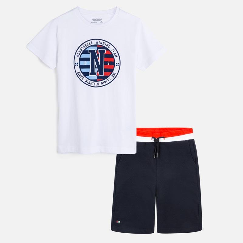 Комплект тениска с лого и памучни бермуди Mayoral 6616