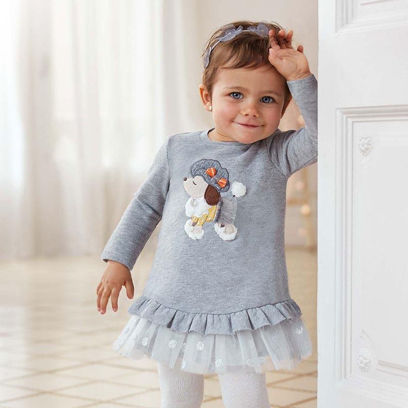 Плюшена рокля с тюл за бебе Mayoral 2965
