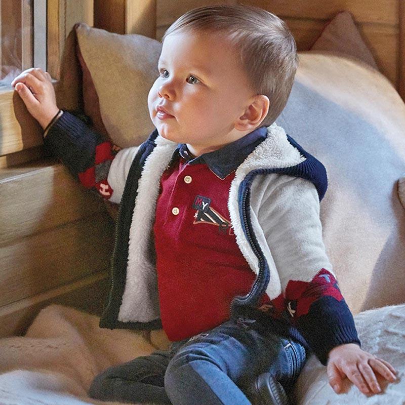 Бебешка плетена жилетка с качулка Mayoral 2355