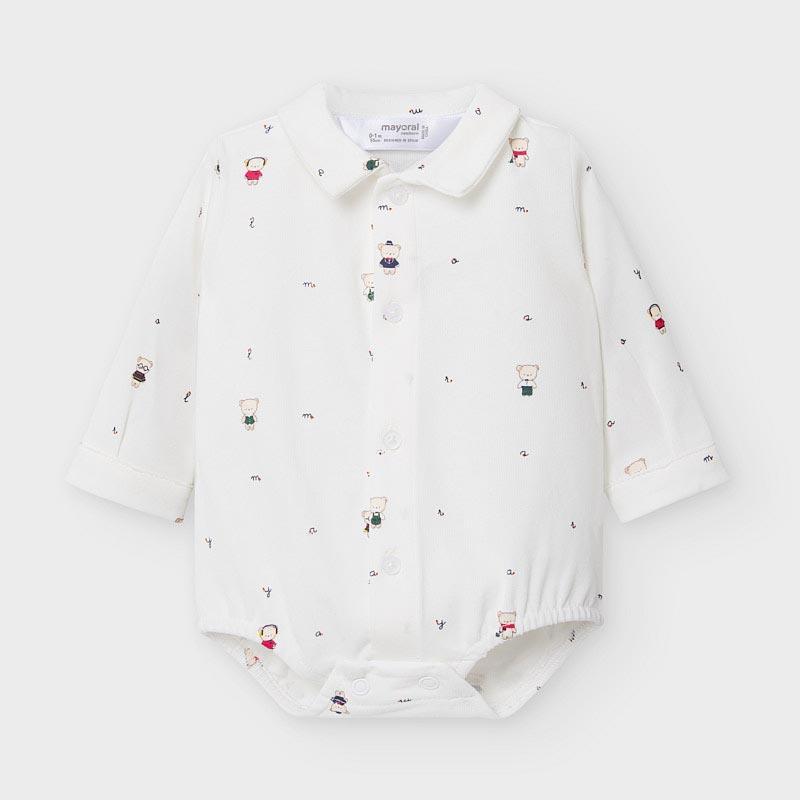 Бебешка памучна боди-риза с мечета Mayoral 2778
