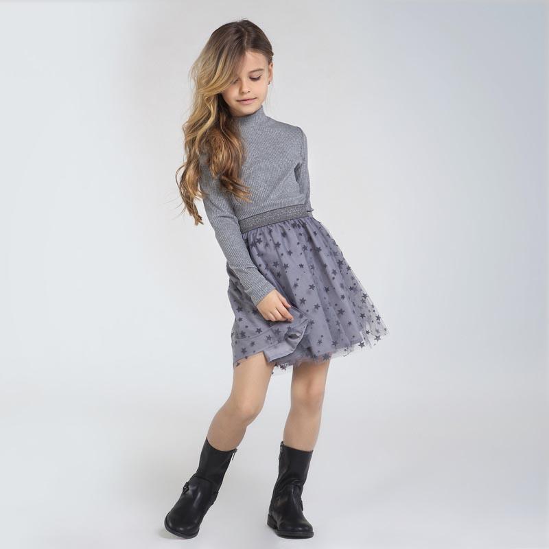 Трикотажна рокля с тюл на звездички Mayoral 7960