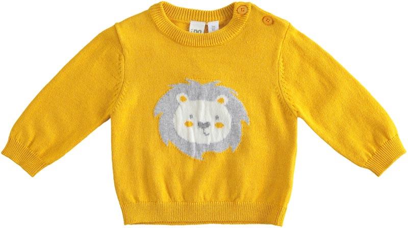Топло плетено пуловерче с лъвче отпред IDO 41176