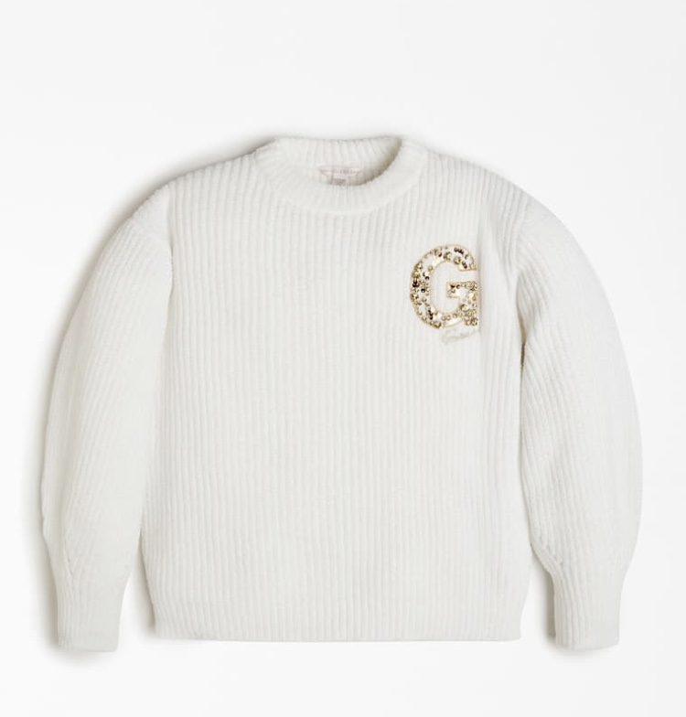 Детски плетен пуловер с буква от пайети Guess J0BR00Z2PX0