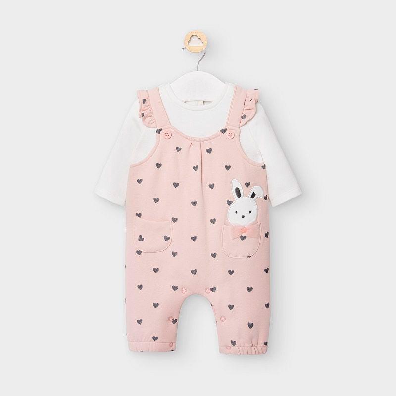 Бебешки памучен гащеризон с апликация и сърца Mayoral 2644