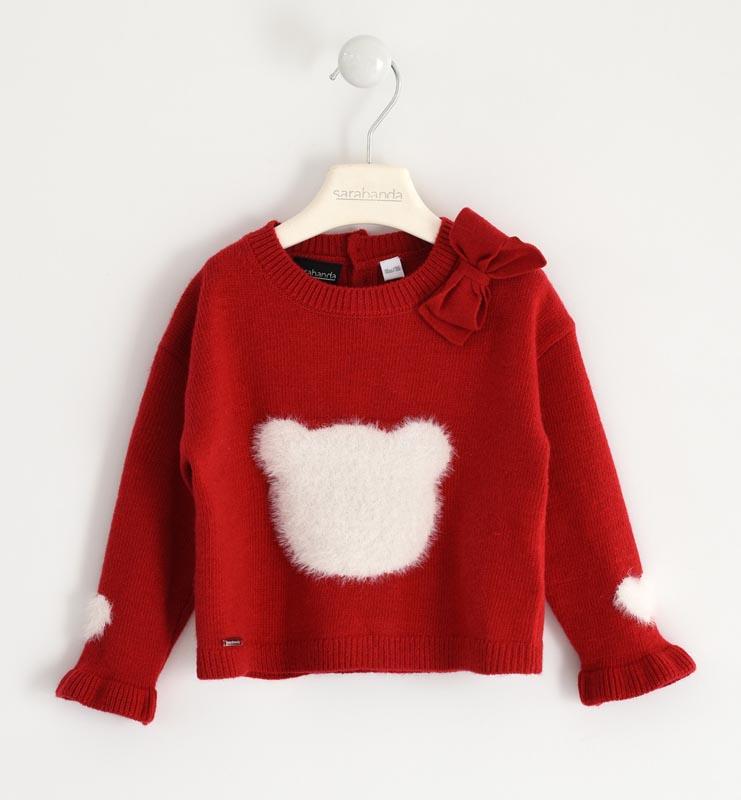 Красив детски пуловер от фино плетиво с акцент от косъм Sarabanda 012511
