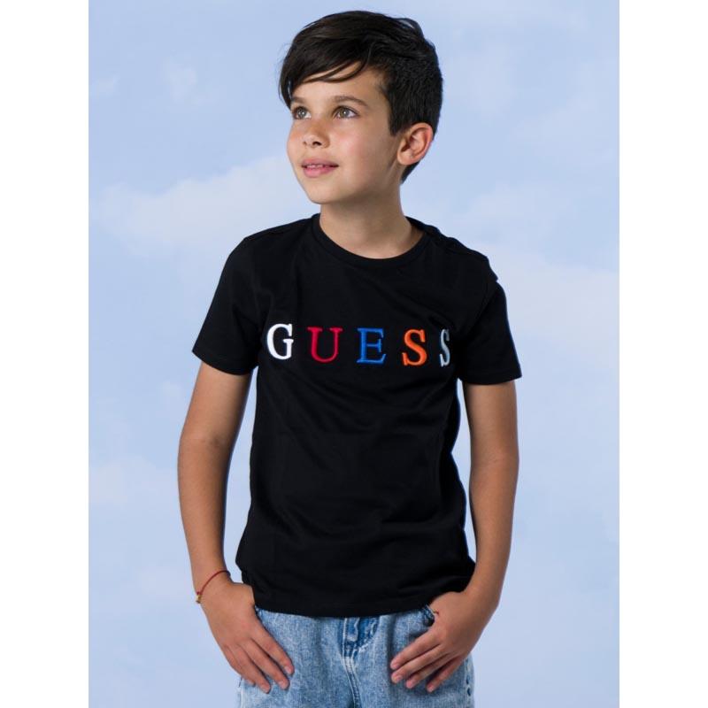 Тениска с изчистен дизайн и надпис в контраст Guess H1RJ04K8HM0