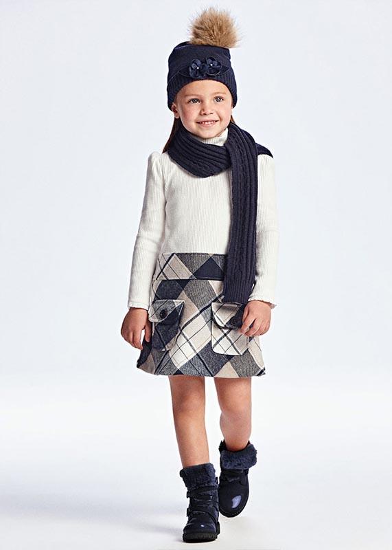 Детска комбинирана рокля на каре Mayoral 4913